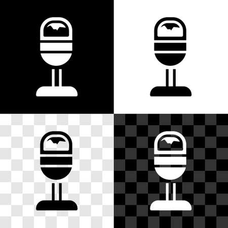 Set Trash can icon isolated on black and white, transparent background. Garbage bin sign. Recycle basket icon. Office trash icon. Vector
