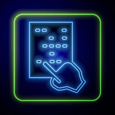 Glowing neon Braille icon isolated on blue background. Finger drives on points. Writing signs system for blind or visually impaired people. Vector Vector Illustratie