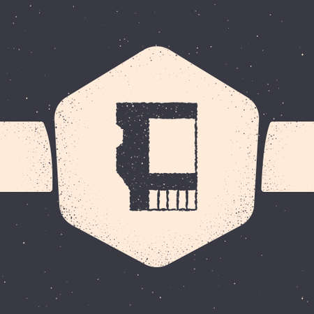 Grunge SD card icon isolated on grey background. Memory card. Adapter icon. Monochrome vintage drawing. Vector 矢量图片