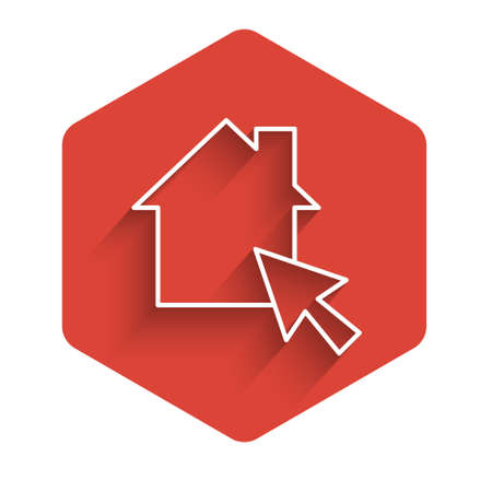 White line Online working icon isolated with long shadow. Freelancer man working on laptop at his house. Remote work. Distant job concept. Red hexagon button. Vector