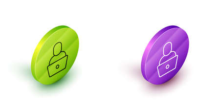 Isometric line Freelancer icon isolated on white background. Freelancer man working on laptop at his house. Online working, distant job concept. Green and purple circle buttons. Vector 矢量图片