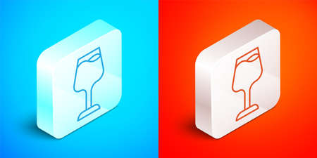 Isometric line Wine glass icon isolated on blue and red background. Wineglass sign. Silver square button. Vector