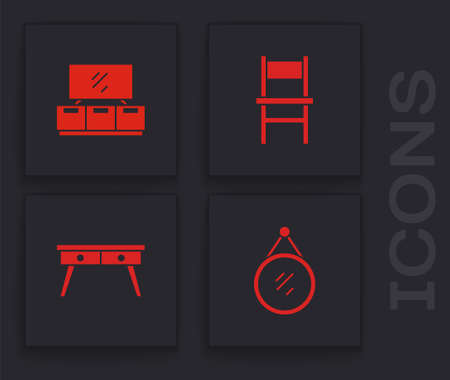 Set Mirror, TV table stand, Chair and Office desk icon. Vector