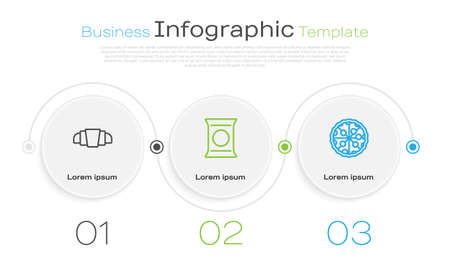 Set line Croissant, Bag or packet potato chips and Pizza. Business infographic template. Vector