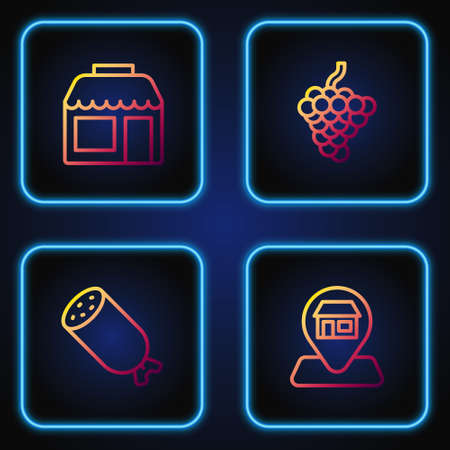 Set line Location Market store, Salami sausage, and Grape fruit. Gradient color icons. Vector