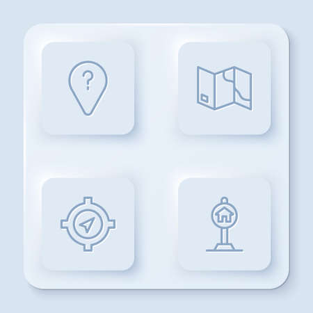Set line Unknown route point, Folded map, Compass and Hotel sign for traffic. White square button. Vector Векторная Иллюстрация