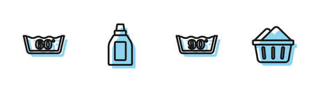 Set line Temperature wash, , Bottle for cleaning agent and Basin with soap suds icon. Vector Vektorgrafik