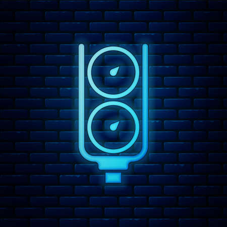 Glowing neon Gauge scale icon isolated on brick wall background. Satisfaction, temperature, manometer, risk, rating, performance, speed tachometer. Vector