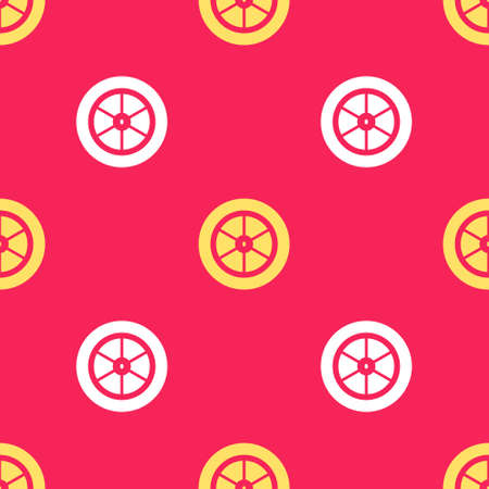Yellow Bicycle wheel icon isolated seamless pattern on red background. Bike race. Extreme sport. Sport equipment. Vector