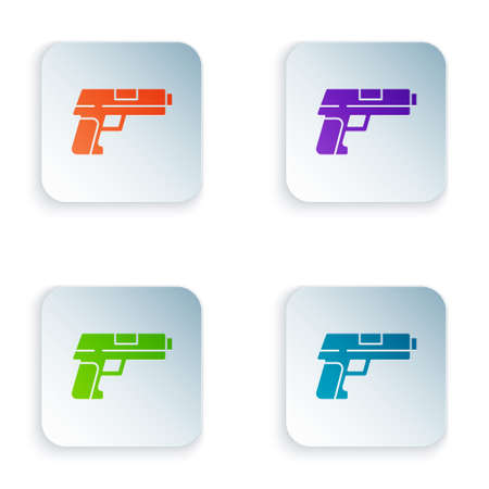 Color Pistol or gun icon isolated on white background. Police or military handgun. Small firearm. Set colorful icons in square buttons. Vector