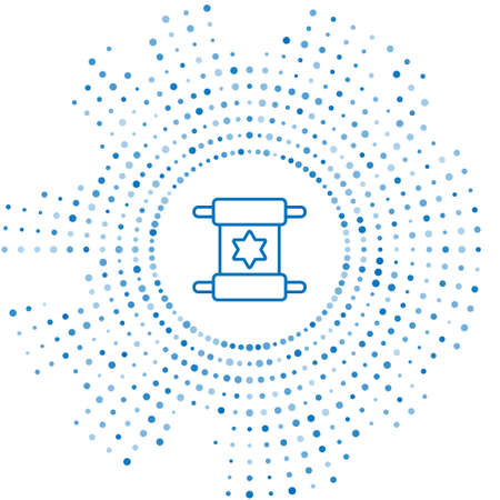 Blue line Torah scroll icon isolated on white background. Jewish Torah in expanded form. Star of David symbol. Old parchment scroll. Abstract circle random dots. Vector