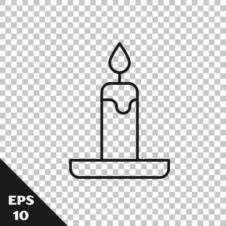 Black line Burning candle in candlestick icon isolated on transparent background. Cylindrical candle stick with burning flame. Vector Vektorgrafik