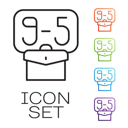 Black line From 9:00 to 5:00 job icon isolated on white background. Concept meaning work time schedule daily routine classic traditional employment. Set icons colorful. Vector Vector Illustratie