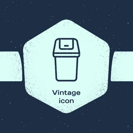 Grunge line Trash can icon isolated on blue background. Garbage bin sign. Recycle basket icon. Office trash icon. Monochrome vintage drawing. Vector