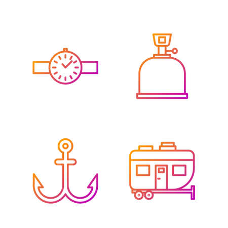 Set line Rv Camping trailer, Anchor, Wrist watch and Camping gas stove. Gradient color icons. Vector