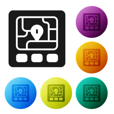 Black Gps device with map icon isolated on white background. Set icons in color circle buttons. Vector