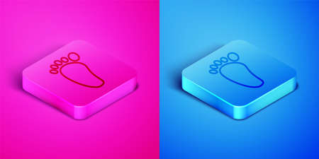 Isometric line Foot massage icon isolated on pink and blue background. Square button. Vector