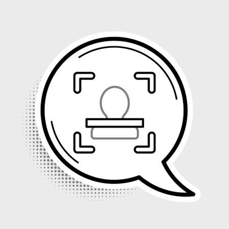Line Face recognition icon isolated on grey background. Face identification scanner icon. Facial id. Cyber security concept. Colorful outline concept. Vector Vecteurs