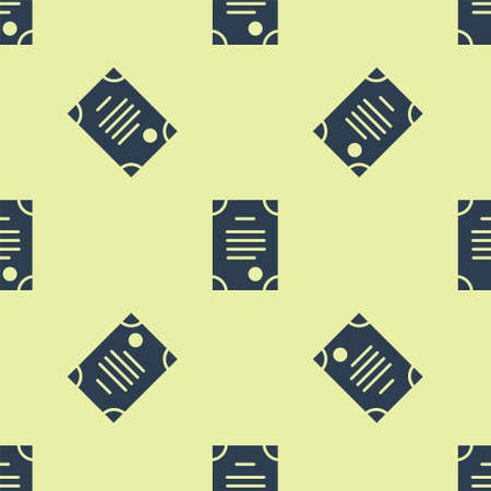 Blue Death certificate icon isolated seamless pattern on yellow background. Vector