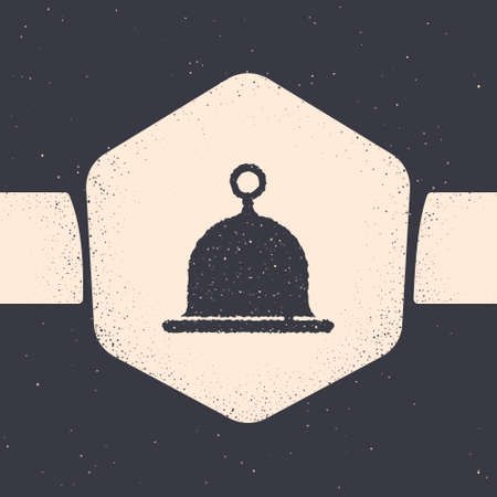 Grunge Sauna hat icon isolated on grey background. Monochrome vintage drawing. Vector
