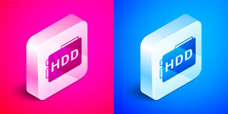 Isometric Hard disk drive HDD icon isolated on pink and blue background. Silver square button. Vector