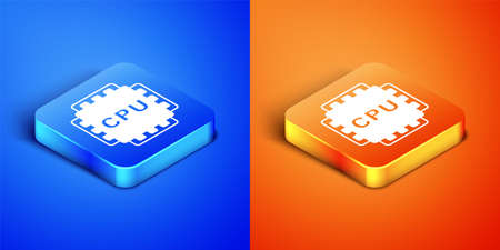 Isometric Computer processor with microcircuits CPU icon isolated on blue and orange background. Chip or cpu with circuit board. Micro processor. Square button. Vector Vecteurs