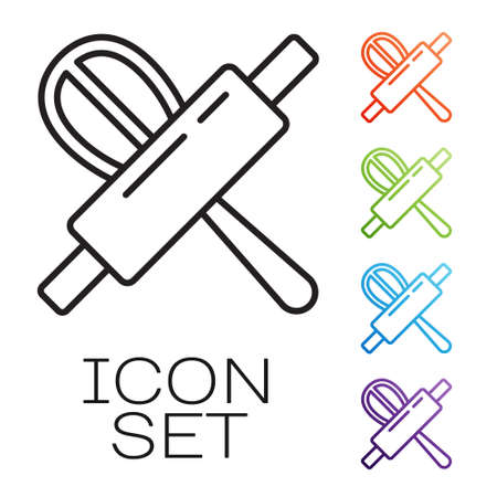 Black line Kitchen whisk and rolling pin icon isolated on white background. Cooking utensil, egg beater. Cutlery sign. Food mix symbol. Set icons colorful. Vector