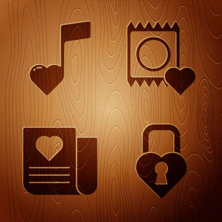 Set Castle in the shape of a heart, Music note, tone with hearts, Envelope with Valentine heart and Condom in package on wooden background. Vector
