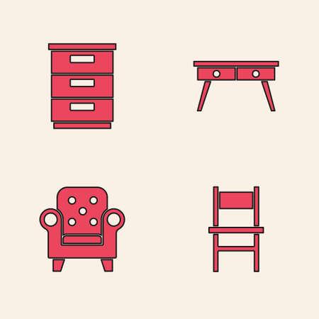 Set Chair, Furniture nightstand, Office desk and Armchair icon. Vector Ilustración de vector