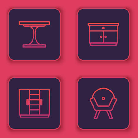 Set line Round table, Wardrobe, Furniture nightstand and Armchair. Blue square button. Vector