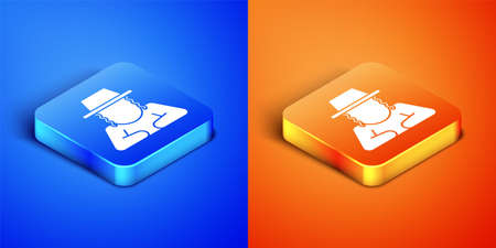 Isometric Orthodox jewish hat with sidelocks icon isolated on blue and orange background. Jewish men in the traditional clothing. Judaism symbols. Square button. Vector Vektorové ilustrace