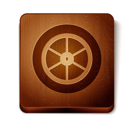 Brown Bicycle wheel icon isolated on white background. Bike race. Extreme sport. Sport equipment. Wooden square button. Vector