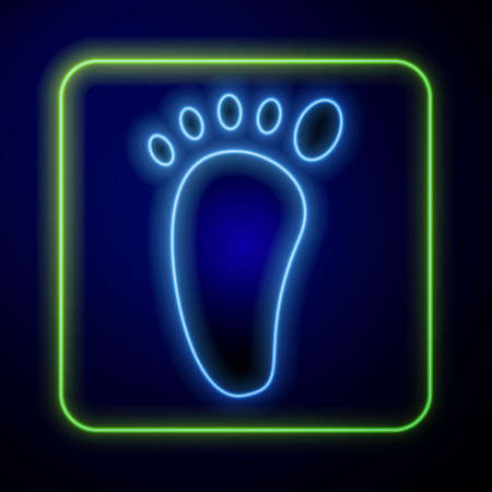 Glowing neon Foot massage icon isolated on blue background. Vector