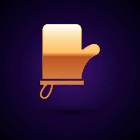 Gold Sauna mittens icon isolated on black background. Mitten for spa. Vector Vecteurs
