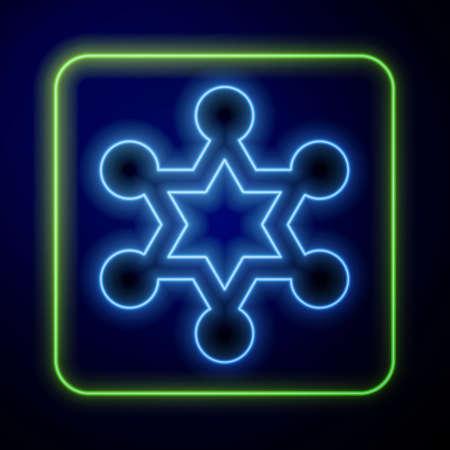 Glowing neon Hexagram sheriff icon isolated on blue background. Police badge icon. Vector Vektoros illusztráció