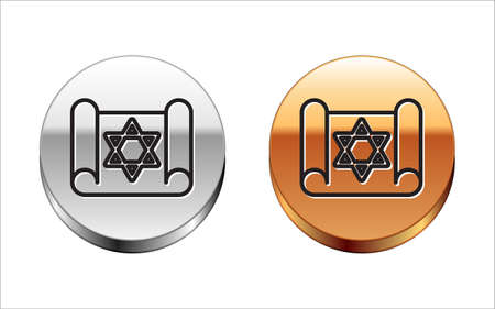 Black line Torah scroll icon isolated on white background. Jewish Torah in expanded form. Star of David symbol. Old parchment scroll. Silver-gold circle button. Vector