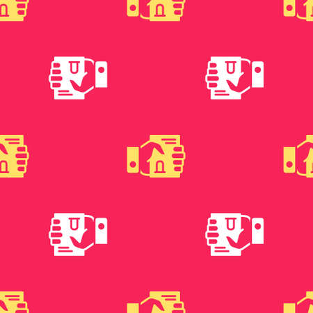 Yellow Death certificate in hand icon isolated seamless pattern on red background. Vector Vektorové ilustrace