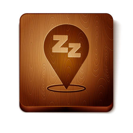 Brown Sleepy icon isolated on white background. Sleepy zzz black talk bubble. Wooden square button. Vector