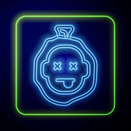 Glowing neon Murder icon isolated on blue background. Body, bleeding, corpse, bleeding icon. Dead head. Concept of crime scene. Vector