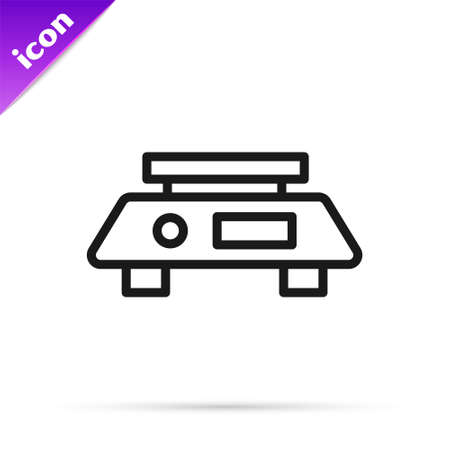 Black line Electronic scales icon isolated on white background. Weight measure equipment. Vector Vector Illustration