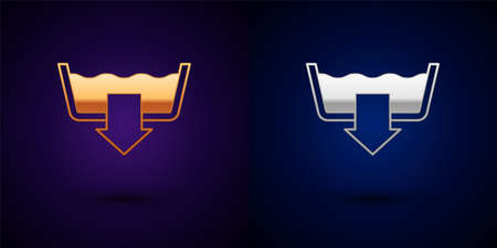 Gold and silver Washing modes icon isolated on black background. Temperature wash. Vector