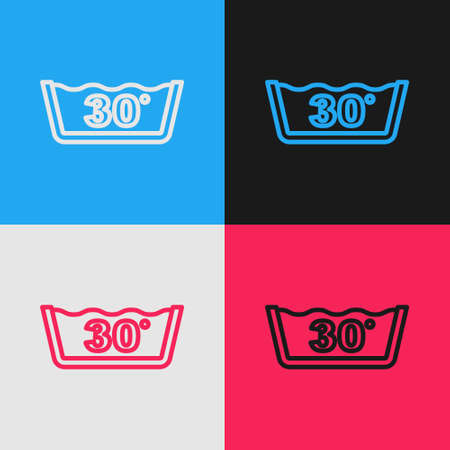 Pop art line Washing under 30 degrees celsius icon isolated on color background. Temperature wash. Vector