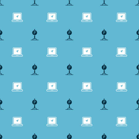 Set Parking and Laptop with location marker on seamless pattern. Vector