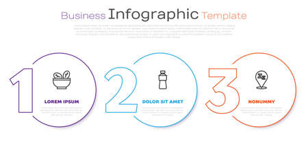 Set line Salad in bowl, Bottle of water and Sleepy. Business infographic template. Vector
