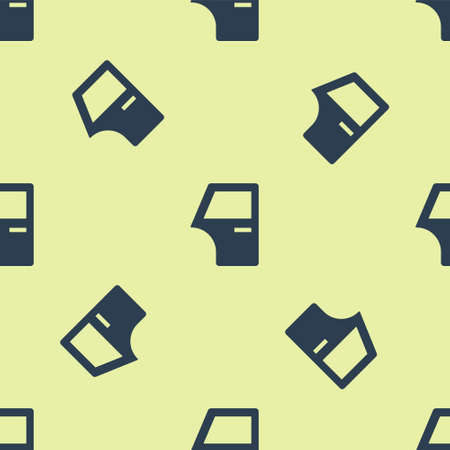 Blue Car door icon isolated seamless pattern on yellow background. Vector Vettoriali