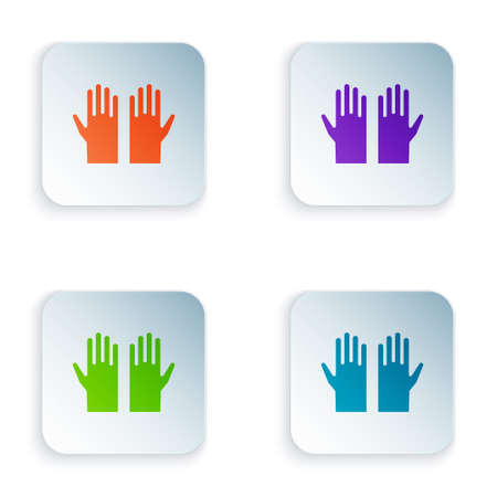 Color Medical rubber gloves icon isolated on white background. Protective rubber gloves. Set colorful icons in square buttons. Vector