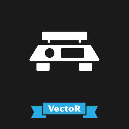 White Electronic scales icon isolated on black background. Weight measure equipment. Vector