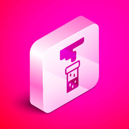 Isometric Test tube and flask chemical laboratory test icon isolated on pink background. Laboratory glassware sign. Silver square button. Vector Illustration