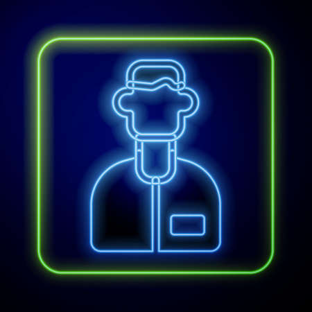 Glowing neon Laboratory assistant icon isolated on blue background. Vector