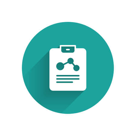 White Chemistry report icon isolated with long shadow. Green circle button. Vector